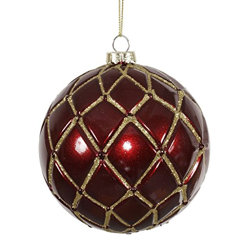 Vickerman 341681 – 4″ Burgundy Candy Glitter Net Ball Christmas Tree Ornament (6 pack) (M145005)