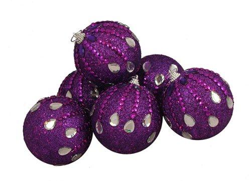 6 December Diamonds Magenta Purple Shatterproof Christmas Ball Ornaments 3.75″