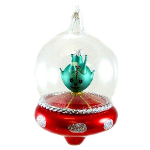 De Carlini SPACESHIP Blown Glass Alien Ornament V3599