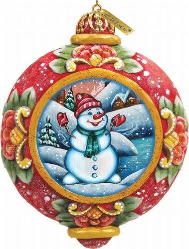 G. Debrekht Snowman Scenic Ornament, 3.5″