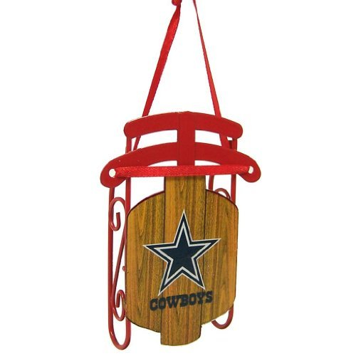 Dallas Cowboys Official NFL 3.5 inch Metal Sled Christmas Ornament by Topperscot