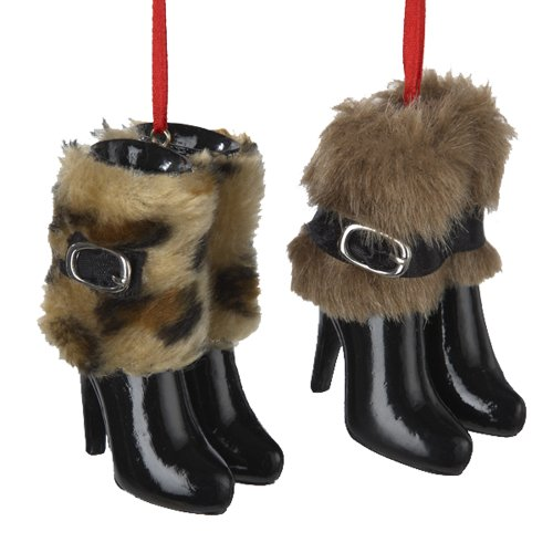 Kurt Adler 3-Inch Resin Boots with Fur Ornament, Set of 2