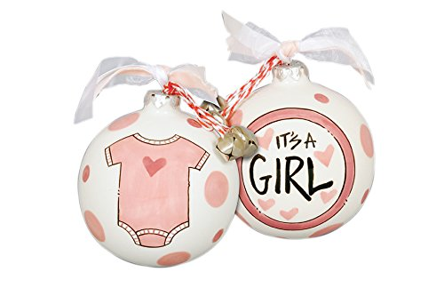 "Hand Painted ""It's A Girl"" Striped Hanging Christmas Tree Ornament"