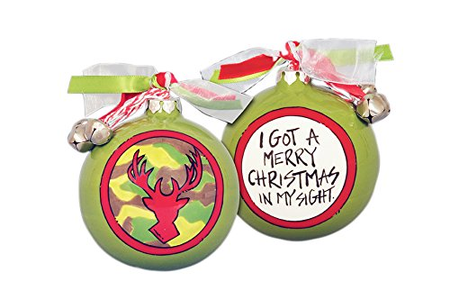 Two Sided Hand Painted Glass Camo Hanging Christmas Tree Ornament