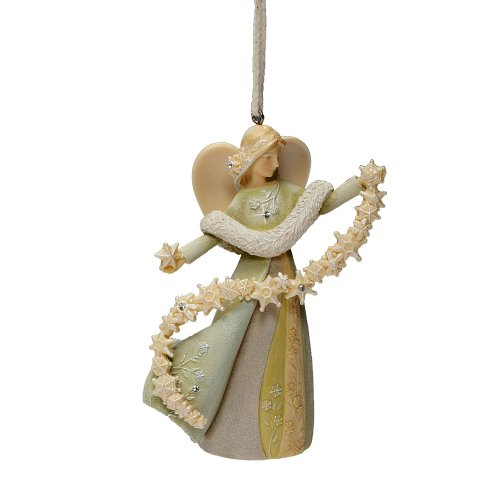 Enesco Foundations Angel with Snowflake Ornament, 4.25-Inch