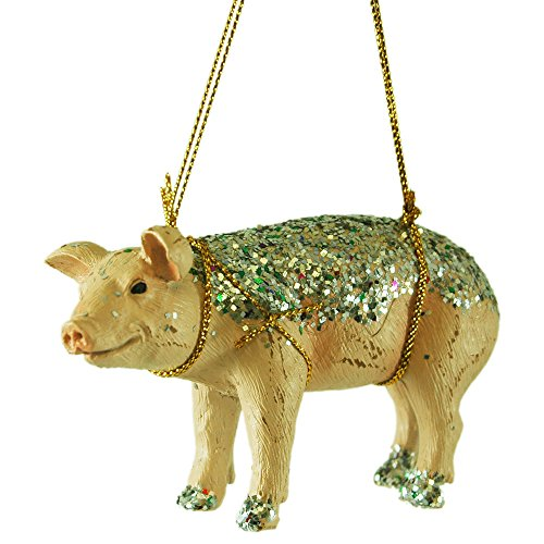 Glitter Pig Resin Hanging Christmas Tree Ornament