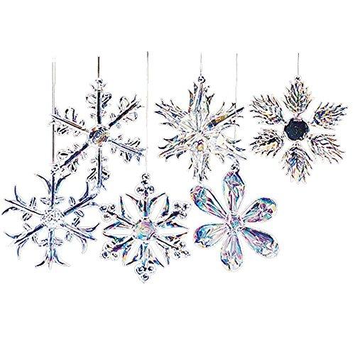 Kurt Adler Glass Iridescent Snowflake Ornament Set OF 24
