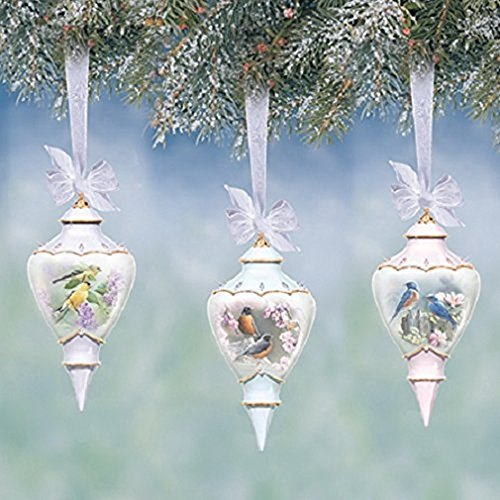 Susan Bourdet Sweet Songbirds Heirloom Porcelain Songbird Accented Teardrop Ornaments Set of 3