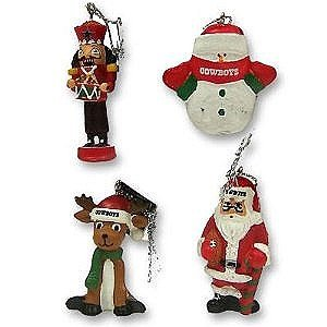 Dallas Cowboys NFL Football 4 Pack of Resin Mini Figurine Christmas Ornaments