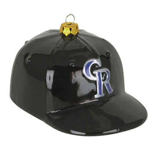 Colorado Rockies Team Glass Baseball Hat Ornament
