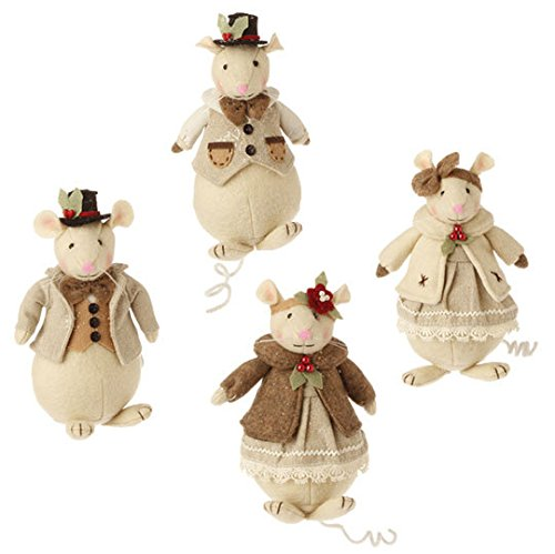 6″ Mouse Ornament Set of Four