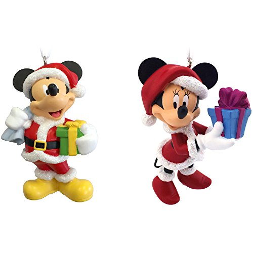 Hallmark Disney Mickey and Minnie Mouse as Santa and Mrs. Claus Christmas Ornaments (Set of 2)