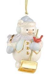 Lenox Snowman Shoveling Snow Porcelain Ornament