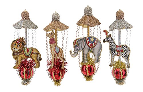 One Hundred 80 Degrees Circus Animals Finials Hanging Ornaments (Set/4)