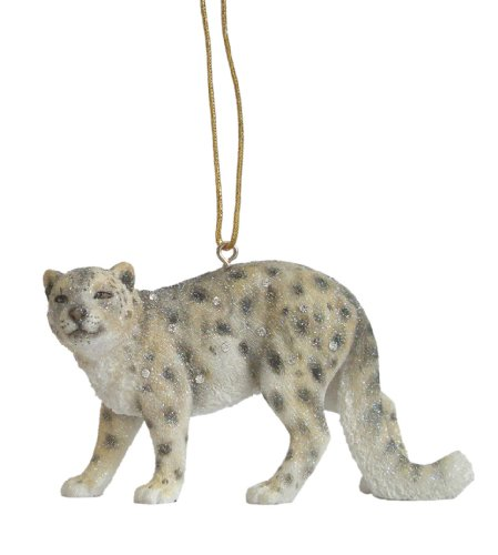 December Diamonds Zoology Snow Leopard Ornament 4 inches Sparkles with Rhinestone-Discontinued Limited Edition!!!s & Glitter!