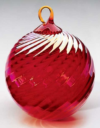 Glass Eye Studios Red Optic Twist Glass Ornament