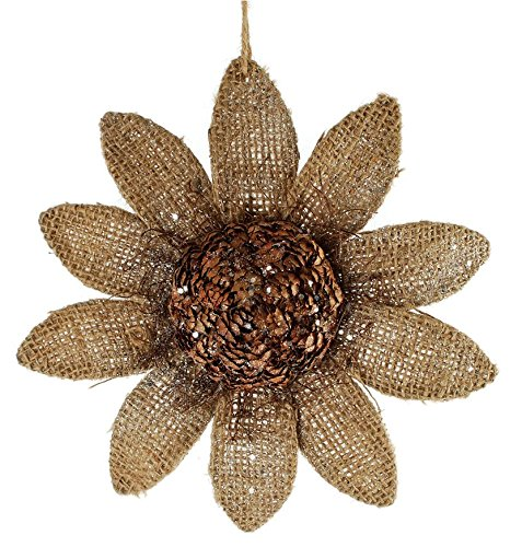 Blossom Bucket Large Sunflower with Pinecone Ornament Christmas Decor, 11-3/4″