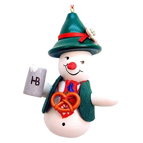 """10-0122 – Christian Ulbricht Ornament – Snowman Beerdrinker – 4″""""H x 3″""""W x 2.25″""""D"""