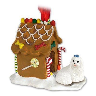 MALTESE Dog NEW Resin GINGERBREAD HOUSE New Resin Christmas Ornament 34