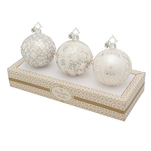 Christopher Radko Boxed Glass Ball Ornaments Silver with Silver