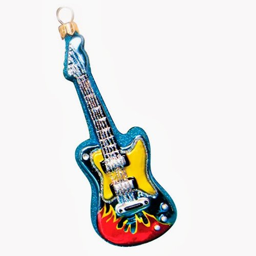 Ornaments to Remember: ELECTRIC GUITAR Christmas Ornament (Blue)