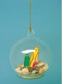 Glass Ball Hanging Christmas Ornament with Resin Surfboards, Real Sand and Shells