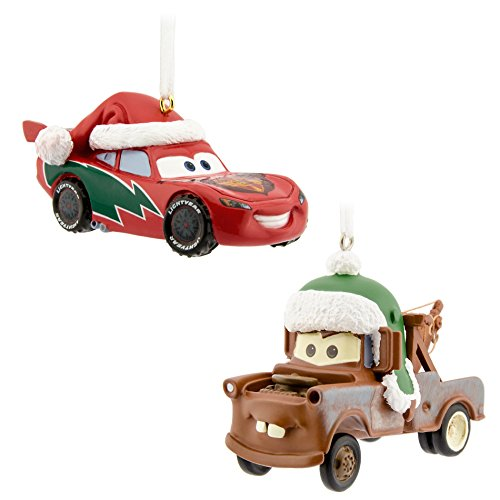Hallmark Disney/Pixar Lightning McQueen and Tow Mater Christmas Ornaments (Set of 2)