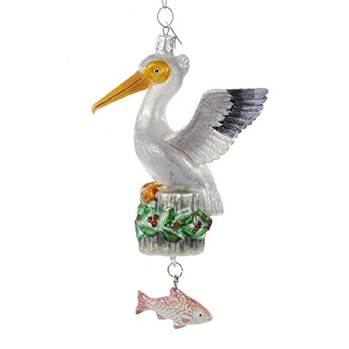 Pelican with Dangle Fish Glass Christmas Holiday Ornament Noble Gems Kurt Adler