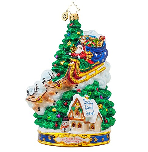 Christopher Radko Glass Midnight Arrival Santa and Christmas Tree Ornament #1017966
