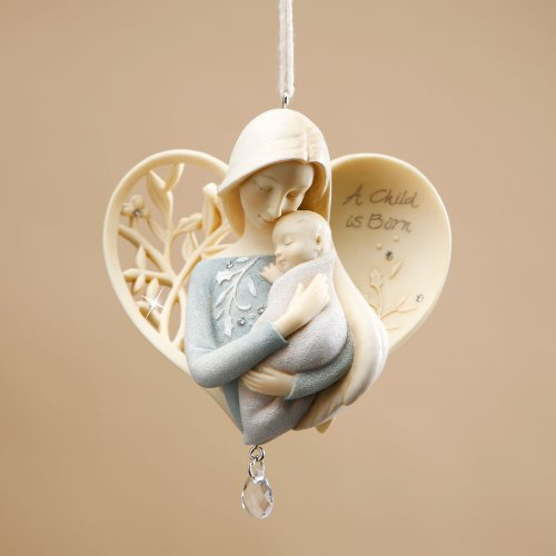 Enesco Foundations Angel with Baby Ornament, 4-Inch