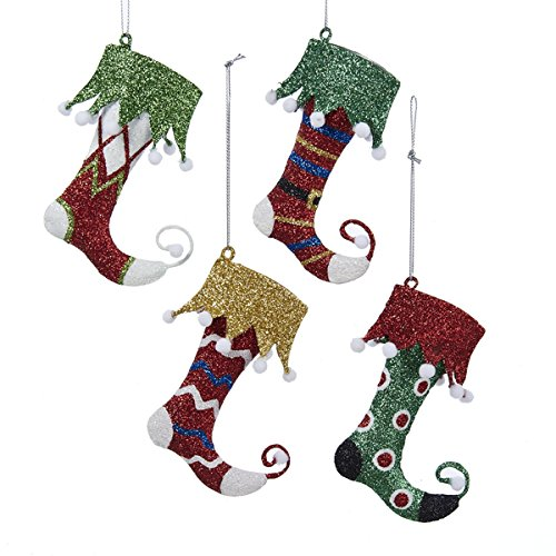 Kurt Adler Glittered Metal Elf Sock Stocking Ornament – D2341