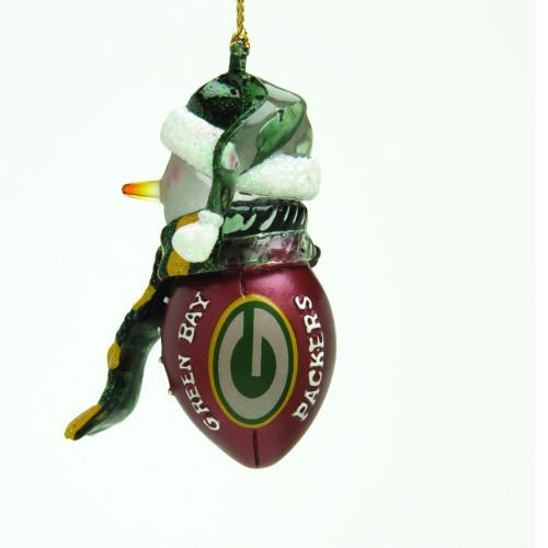 Green Bay Packers Striped Snowman Football Christmas Ornament