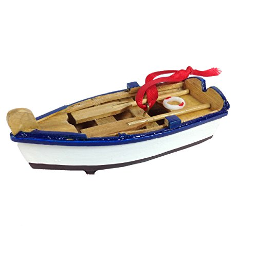 Wooden Rowboat Christmas Ornament – 4-in (Blue)