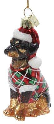 Kurt Adler 3-1/2-Inch Noble Gems Glass Rottweiler Ornament