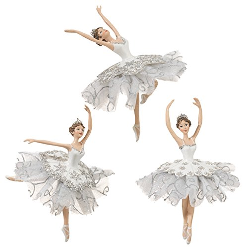 RAZ Imports – Enchanted Holiday – Whimsy – Set of 3 White & Silver 6″ Dancing Ballerina Christmas Tree Ornaments