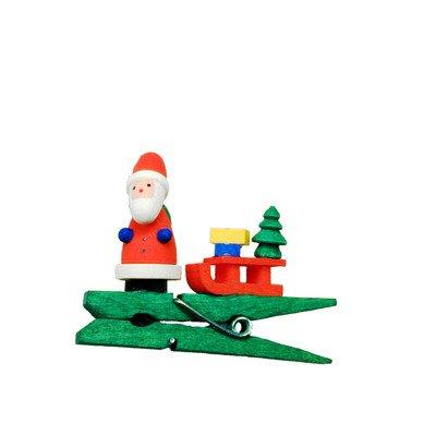 """10-0871 – Christian Ulbricht Ornament – Santa with Sled Clip-on – 1.5″""""H x 2″""""W x .5″""""D"""
