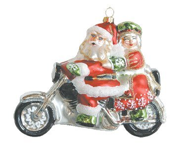 Margaret Cobane Glass Ornament – Motorcycle Santa