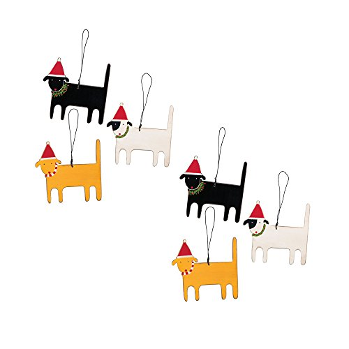 Christmas Dogs Ornament Set – 6 Ornaments – 3-1/4-in x 3-1/2-in
