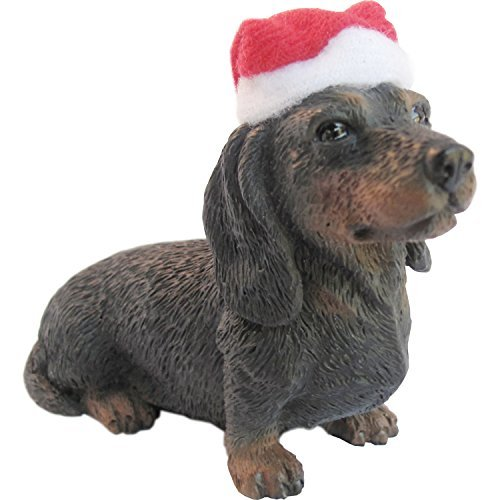 Sandicast Black Dachshund with Santa Hat Christmas Ornament by Sandicast