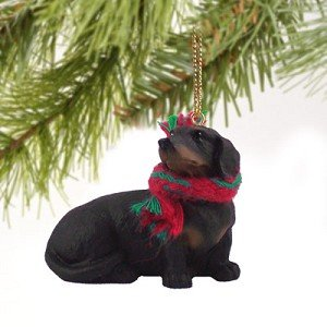1 X Dachshund Miniature Dog Ornament – Black & Tan