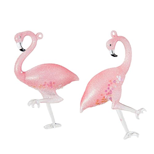 Pair 4.75″ Pink Flamingo Glass Sequin Whimsical Christmas Ornament