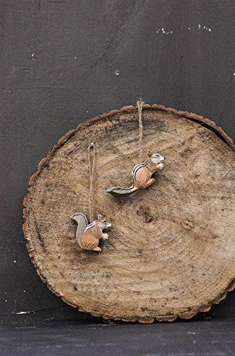 Hand Carved Wood Chipmunk Ornament Set of 2
