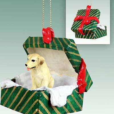 Conversation Concepts Labrador Retriever Yellow Gift Box Green Ornament