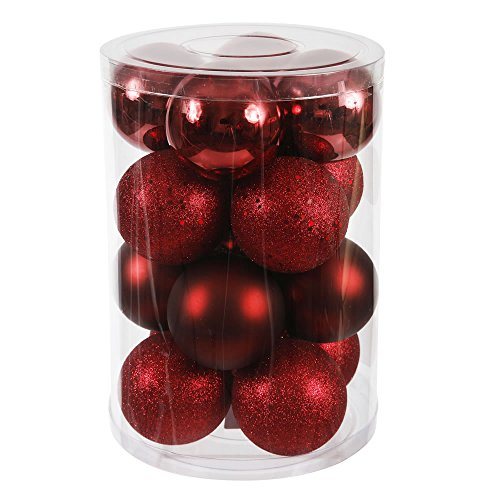 Vickerman 4 Finish Ornaments, 2.75-Inch, Burgundy, 20-Pack