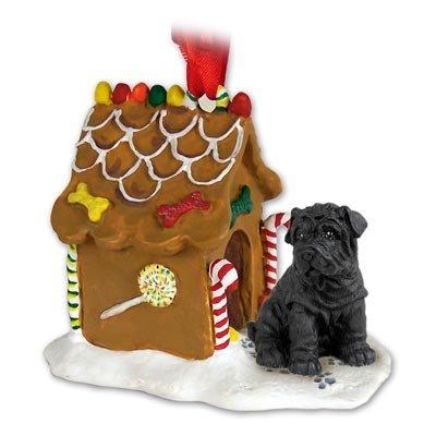 Shar Pei Black Ginger Bread House Ornament