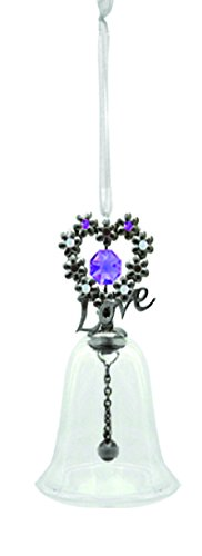 Gunmetal Plated Blooming Love Glass Bell Ornament with Purple Swarovski Element Crystals