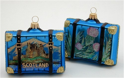 Scotland Travel Suitcase Polish Glass Christmas Ornament