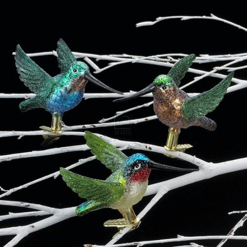 Noble Gems Glass Hummingbird Clip-on Ornament Set OF 3