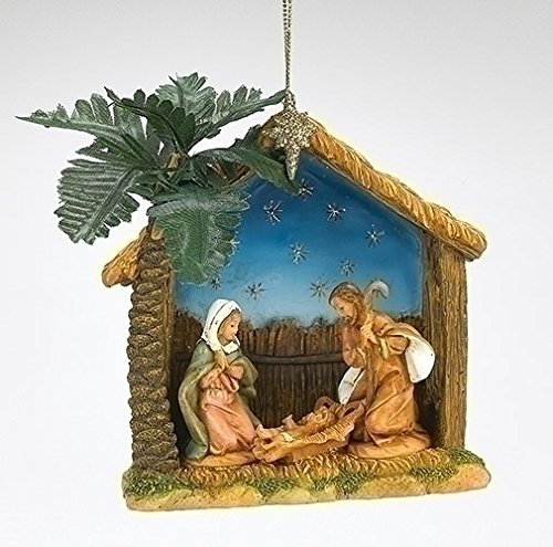 4″ Holy Family Ornament Stable With Palm Tree Event Ornament Fontanini by Roman