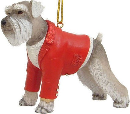 "December Diamonds Adorable Schnauzer in a Red Shirt Ornament with Rhinestone ""Cuff Links""."